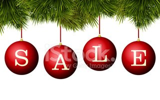 Christmas Sale Banner Advertisement Red Baubles With Pine Bran ...
