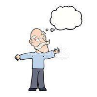 cartoon old man spreading arms wide with thought bubble