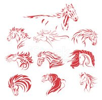 Horse,Outline,Drawing - Art...