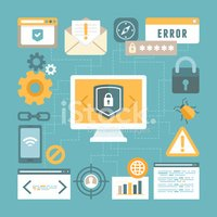Vector internet and information security concept in flat style