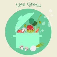 Healthy Lifestyle Cooking Vegetables Background, Flat Vector Ill