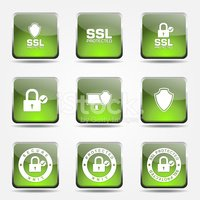Protection Web Internet Square Vector Green Icon Design Set
