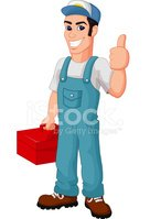 Friendly Mechanic cartoon with toolbox giving thumbs up
