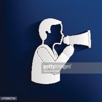 Megaphone,businessman design on blue background,clean vector