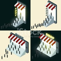 Isometric,Business,Store,Sy...