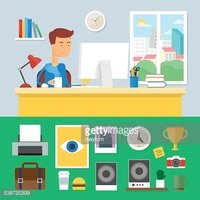 Download Source File Browse > Illustration of a man working in office