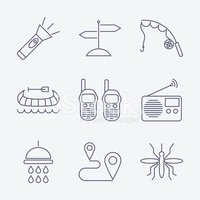 Outline stroke Camping icons