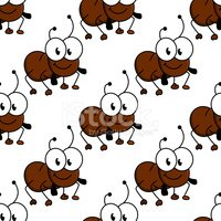 Cute little cartoon ant seamless pattern