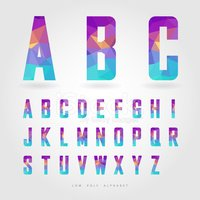 low poly alphabet on polygon concept