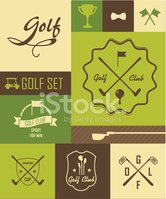 Golf,Sign,Old-fashioned,Gra...