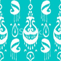 Blue and white ikat asian traditional fabric seamless pattern, v
