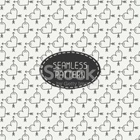 Romantic line seamless pattern with hearts. Beautiful  vector il