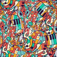 Vector seamless musical pattern, hand drawn, doodles.