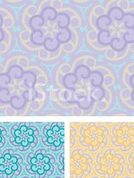 Purple Pastel Floral Cogs - seamless Pattern