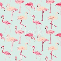 Flamingo Bird Background - Retro seamless pattern