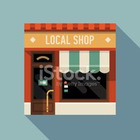Small business icon with store facade