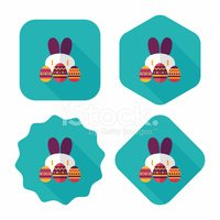 easter bunny flat icon with long shadow,eps10