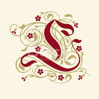 Flourish, ornamental letter L (Initial) with ruby red flowers