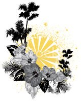 Palm Tree,Hibiscus,Tropical...