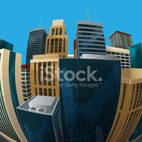 vector illustration of panoramic fisheye lens cityscape view.