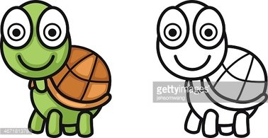 Colorful and Black and White Turtle for Coloring Book stock ...