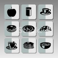 Black breakfast icons