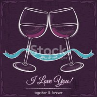 purple wedding card with two glass of wine