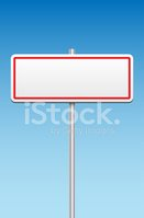 Blank metal sign and blue sky