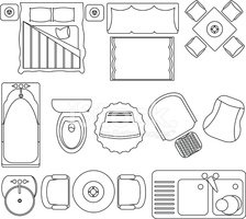 Simple Furniture Floor Plan Vector Icons Set 2 Clipart Images