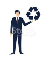 Businessman Holding A  Recycling Symbol