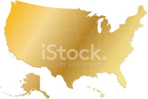 Map,USA,Gold Colored,Gold,H...
