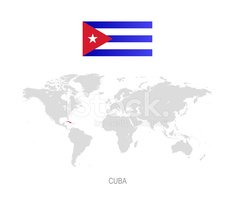 Flag of Cuba and Designation on World Map stock vectors - Clipart.me