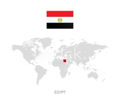 Flag of Egypt and Designation on World Map stock ...