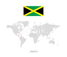 Flag of Jamaica and Designation on World Map stock vectors ...