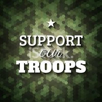 Support our troops. Military slogan poster on geometric camoufla