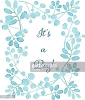 It's a boy card. Floral wreath watercolor hand drawn.
