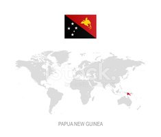 Flag of Papua New Guinea and Designation on World Map stock ...