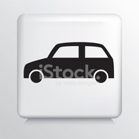 Square White Icon With Car Silhouette