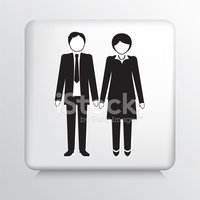 Square Icon With Businessman And Businesswoman
