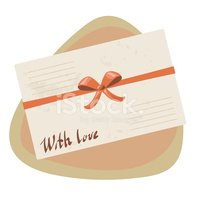love letter with red ribbon