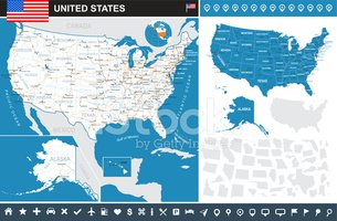 United States (USA) - infographic map - illustration