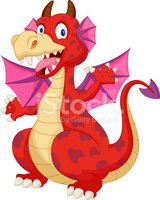 Red cartoon dragon