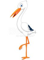 Cute stork cartoon posing