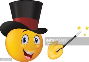 Cartoon magician in top hat with magic wand showing trick