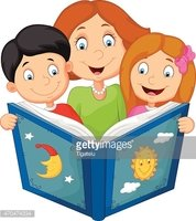Cartoon mother reading with his children
