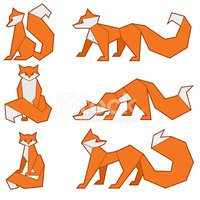 Set of low-poly foxes