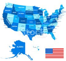 United States (USA) - map, flag and navigation icons - illustrat