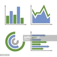 Blue and Green Business Graph Icons Set. Vector