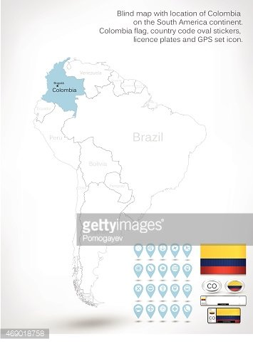 Blind map with location of Colombia