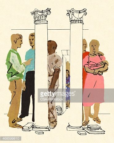 People Standing Around Two Columns